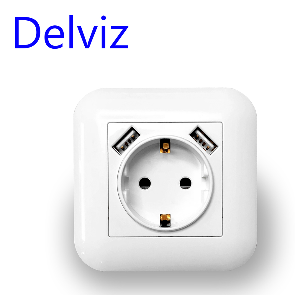 Delviz EU Standard 16A Wall SocketAC 110 250V Power Socket Square with usb faceplate 2 1A PortWhite Dual USB charging socket