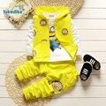 Toddler Kids Sistema de la Ropa 2017 Nueva Moda Caliente Venta de Los Niños Minions 3 unids Ropa de Otoño Con Capucha Chaleco de La Camiseta Pantalones T2904
