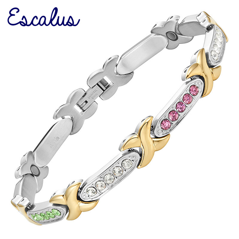 Escalus Women 2-Tone Gold Magnetic Stainless Steel Bracelet Colorful 40pcs Crystals Bangle Ladies Wristband Charm