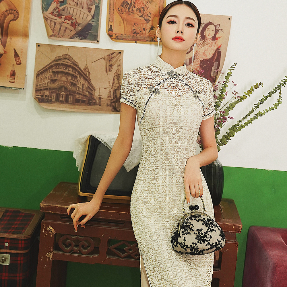 Sexy Hollow Out Women Lace Qipao Summer Short Sleeve Retro Cheongsam Elegant Evening Dress Vintage Chinese Robe Costume S-XXL