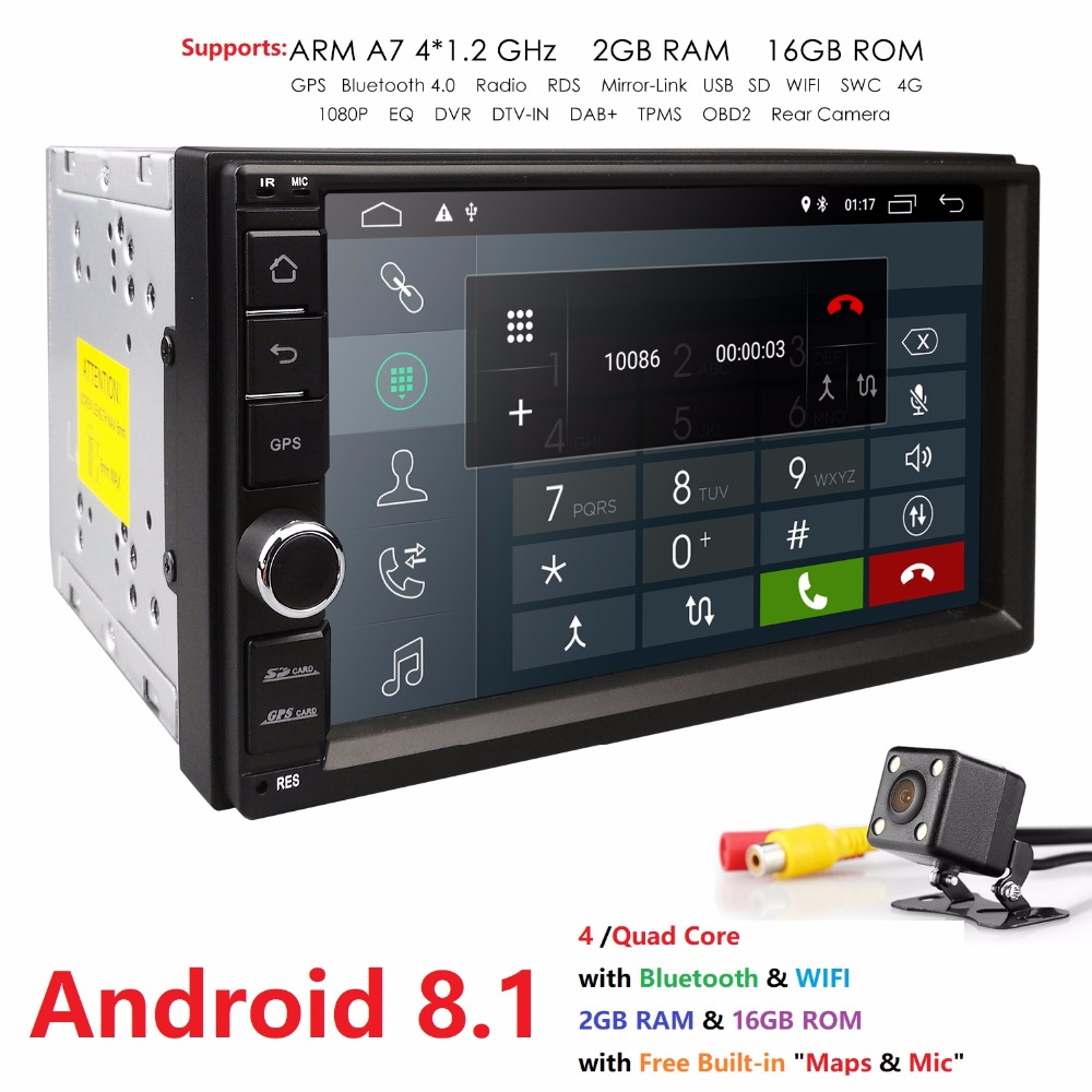 2 GRAM 2Din SD Android8.1 dvd de voiture Radio Lecteur 7