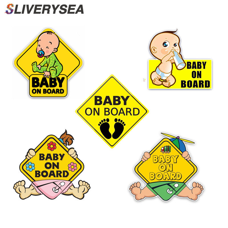 SLIVERYSEA Car Sticker Lovely Cartoon BABY ON BOARD Colored Graphic Decoration
