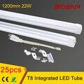 Integrado lâmpada led tubular T8 1200mm 22 W, CE Rohs 4ft led tubo T8 CONDUZIU o tubo 25 pçs/lote