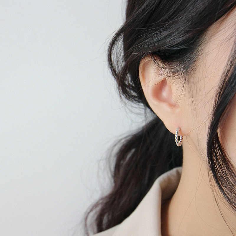 """HFYK 925 Bông Tai Nữ Bạc 2019 Xoắn Vàng Vòng Tròn Đôi Khuyên Tai Vòng Cho Nữ pendientes mujer """"AROS de plata ley 925"""