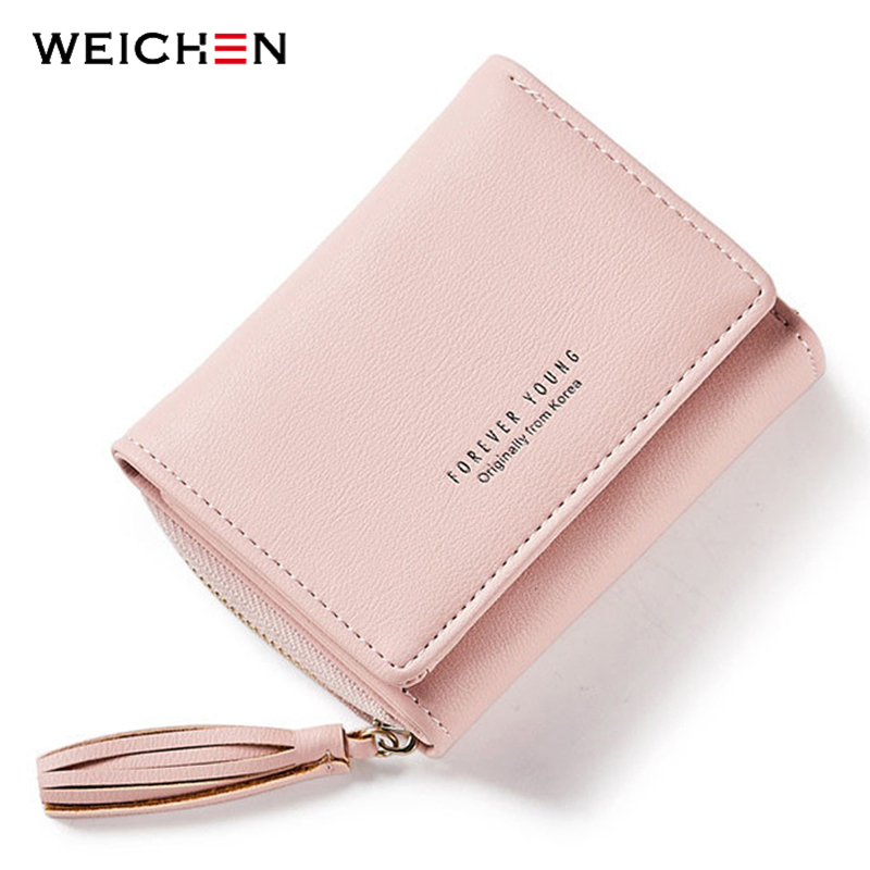 WEICHEN Tassel Pendant Design Small Clutch Wallets For Women, Coin Purses Card Holders Invoice Pocket PU Leather Female Lady Bag