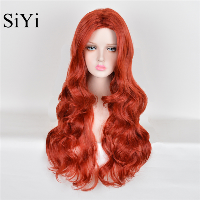 High Quality Peruca Cosplay Wigs Long Wavy Red Synthetic ...