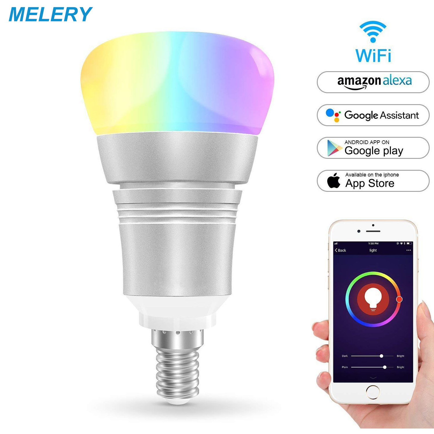 Smart Led Lamp Wifi Light Bulb 7W E14 Dimmable Remote Control Multicolor LED Colorful Mood Light for Alexa Google Home IFFT