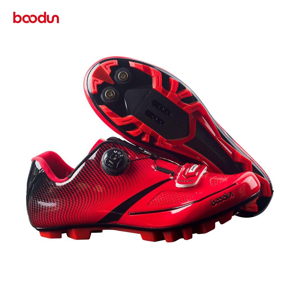 BOODUN 2018 Men Ultralight Pro Self-Locking Cycling Shoes Mountain Bike MTB Shoes Reflective Bicycle Triathlon Racing Shoes