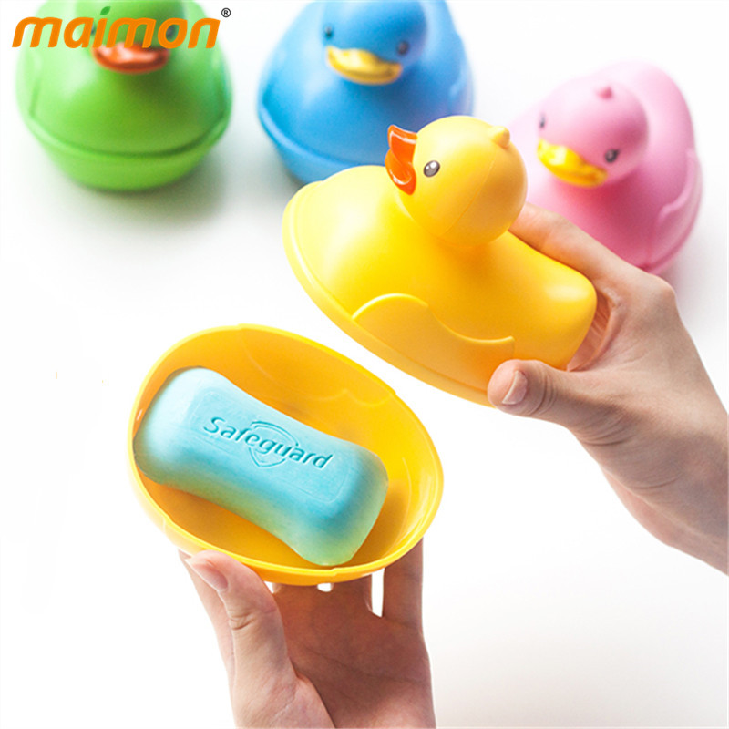 1pcs cute plastic cartoon duck soap box floating travel for Soap craft for kids