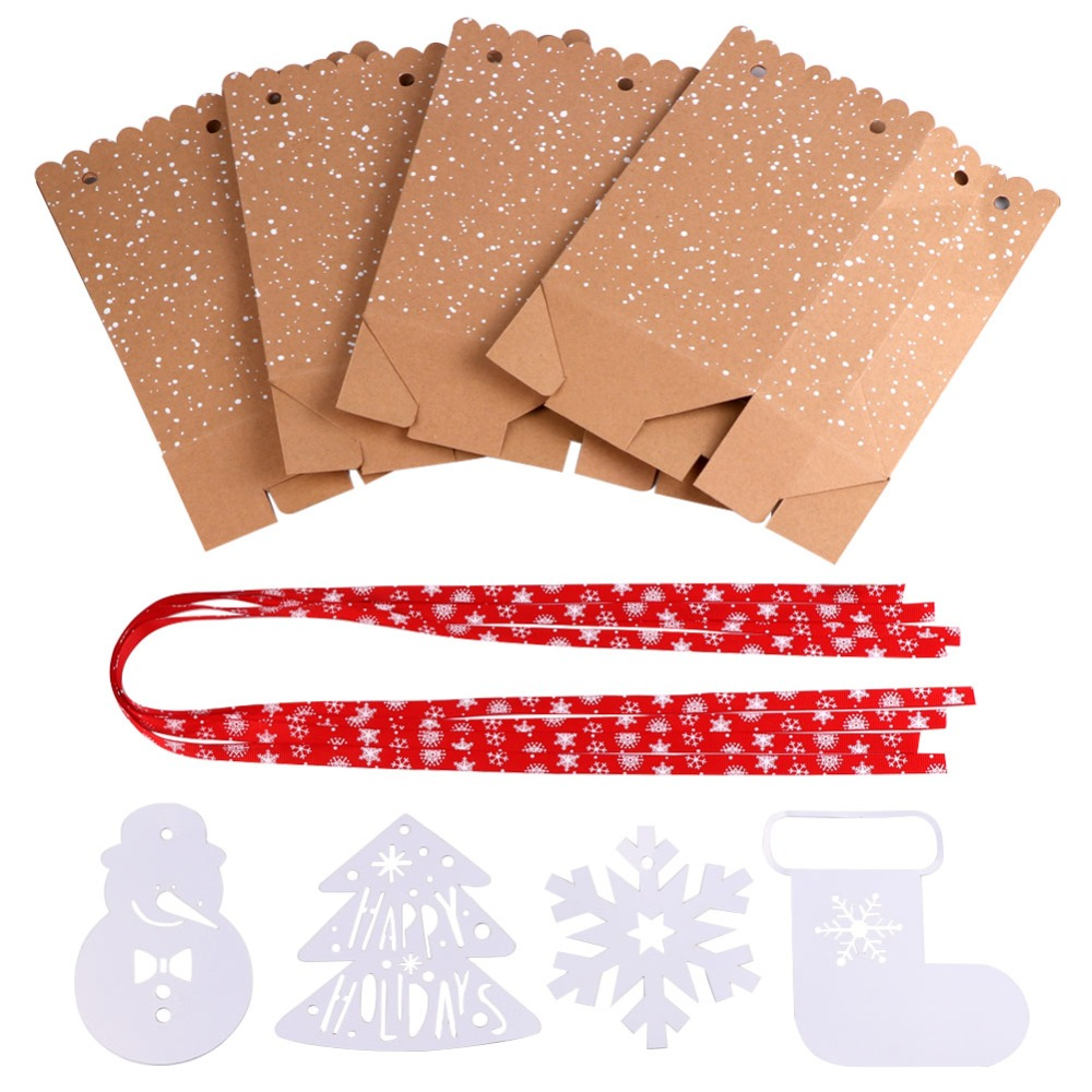 OurWarm 4Pcs Kraft Paper Bags Candy Bar Sweet Candy Cookie Packaging Box with White Tag Ribbon New Year 19 Christmas Gift 3