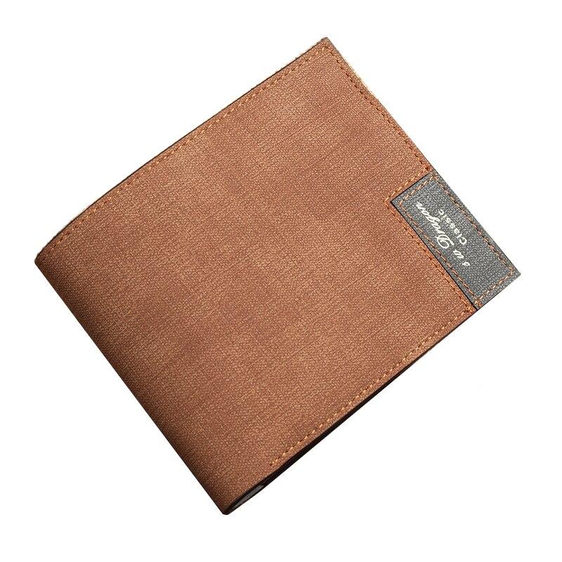 Hot Retro Men Short Wallet Ultra Thin Student Purse Fashion Splice Textured Wallet