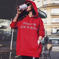 American Apparel Hooeded Sweatshirt Women Your Boy Friend Follows My Instagrame Printed Long Sleeved Pullover Red