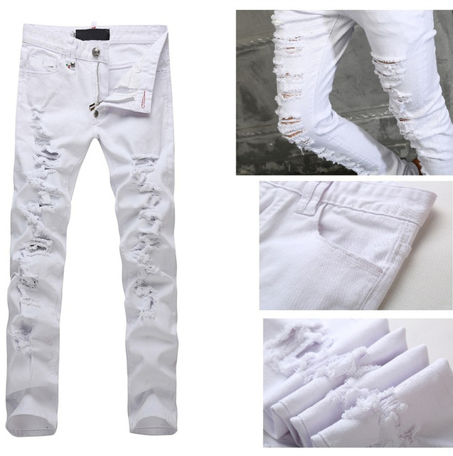 White destroyed jeans - ChinaPrices.net
