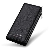 WILLIAMPOLO Brand Genuine Leather Luxury Men Wallets Long Men Purse Wallet Male Clutch Business Wallet Card Holder Coin Purse