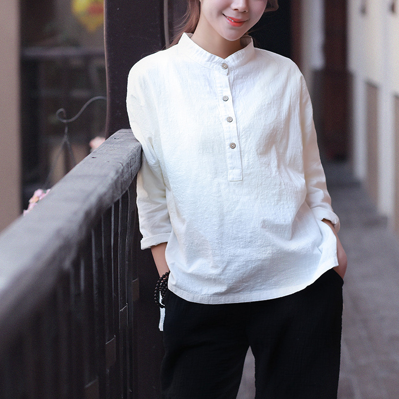 Retro Women/'s Linen Coat Jacket Dress Tops Shirt Blouse Casual Loose Fit Chinese