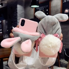 DOEES Luxury Warm Cute Case For iPhone 7 7 Plus 6 6S Plus X Phone Cases PC Furry Rabbit Hat Back Cover For iPhone X 10 8 Fundas(China)