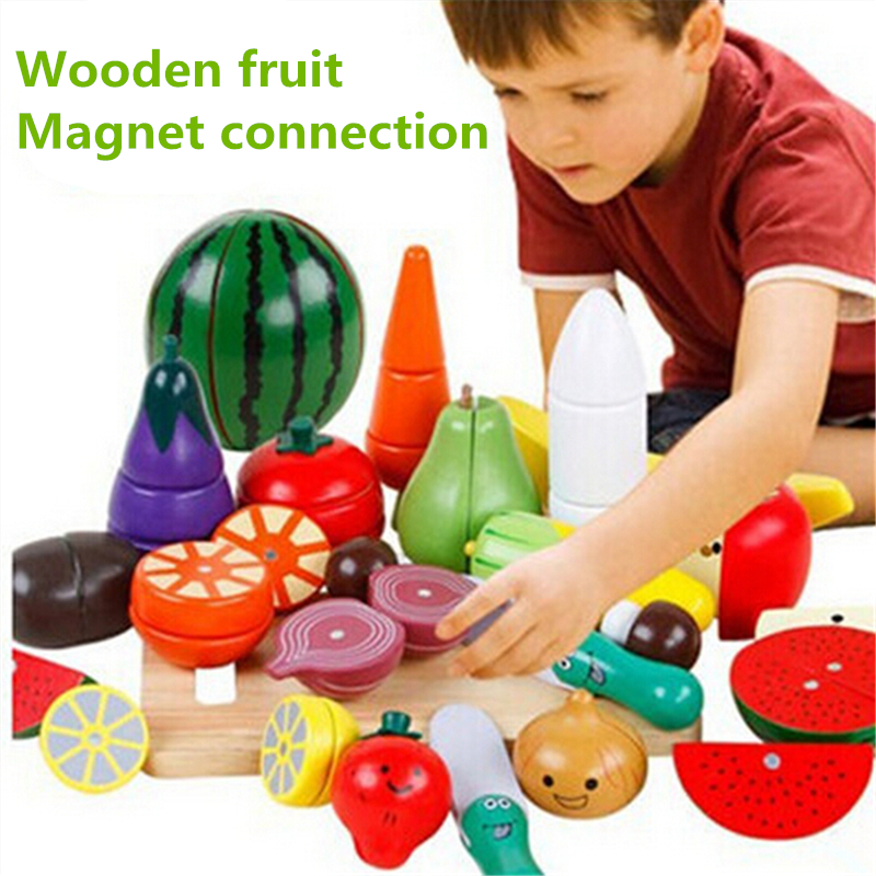 Retail wooden Puzzle Cut fruits and vegetables magnetic playhouse early childhood educational toys for children birthday gifts children s early childhood educational toys the bear change clothes play toys creative wooden jigsaw puzzle girls toys