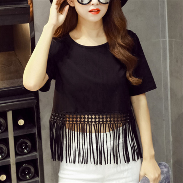 Fringed Lace Cotton T-shirts Solid Color Ladies Tees Round Neck Women's T-shirt Casual Loose Short Sleeve Base T shirt 6623202