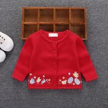 Модный свитер на весну и осень для маленьких девочек 0-2 лет, Хлопковый вязаный Повседневный Кардиган для девочек