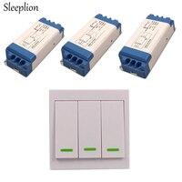 Sleeplion DC/AC 16V 250V Wireless Wall Remote Control Operation Switch 85 250V 85V 110V 220V LED light Lamp Fan ON/OFF 3 Receive