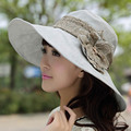 HOT Elegant Woman Summer Hat Flowers Beach Large Brimmed Sun Hats Collapsible Cap