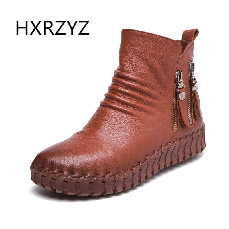 HXRZYZ spring and autumn new fashion genuine leather boots ladies side zipper black ankle boots women's winter boots shoes women