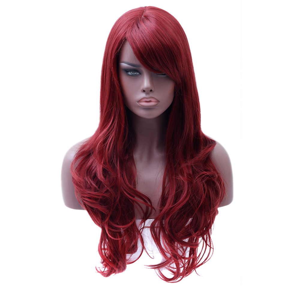 WTB Long Wavy Red Wigs For Women High Temperature Fiber Cosplay Wigs For African American Synthetic Hair