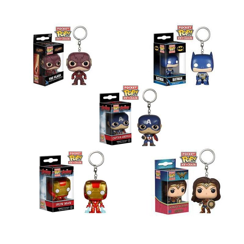 Funko POP Marvel Avengers Captain America Batman Flash Pocket Pop Keychain IRON MAN Wonder Woman Action Figures Toy For Children