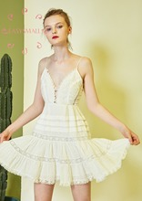 EASYSMALL Women dress Fashion Summer Beach Sexy Backless high-end Lace Patchwork party evening High Waist sleeveless Dresses