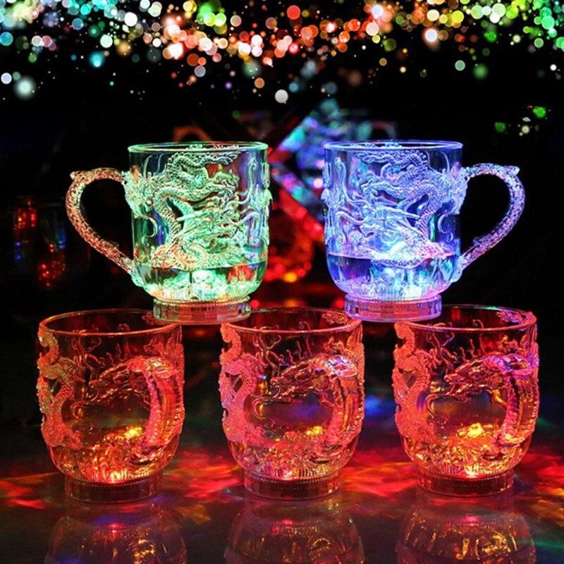 Пластиковая светящаяся стеклянная кружка для вина, пива, LED кружка с драконом, светодиодный стакан, Радужный цвет, мигающий свет, Прямая поставка, креативный подарок