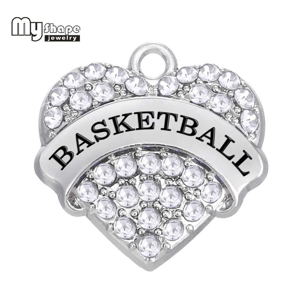 Mi forma 3 piezas aleación de Zinc rodio plateado baloncesto deportivo claro rosa azul cristal corazón colgante accesorio DIY