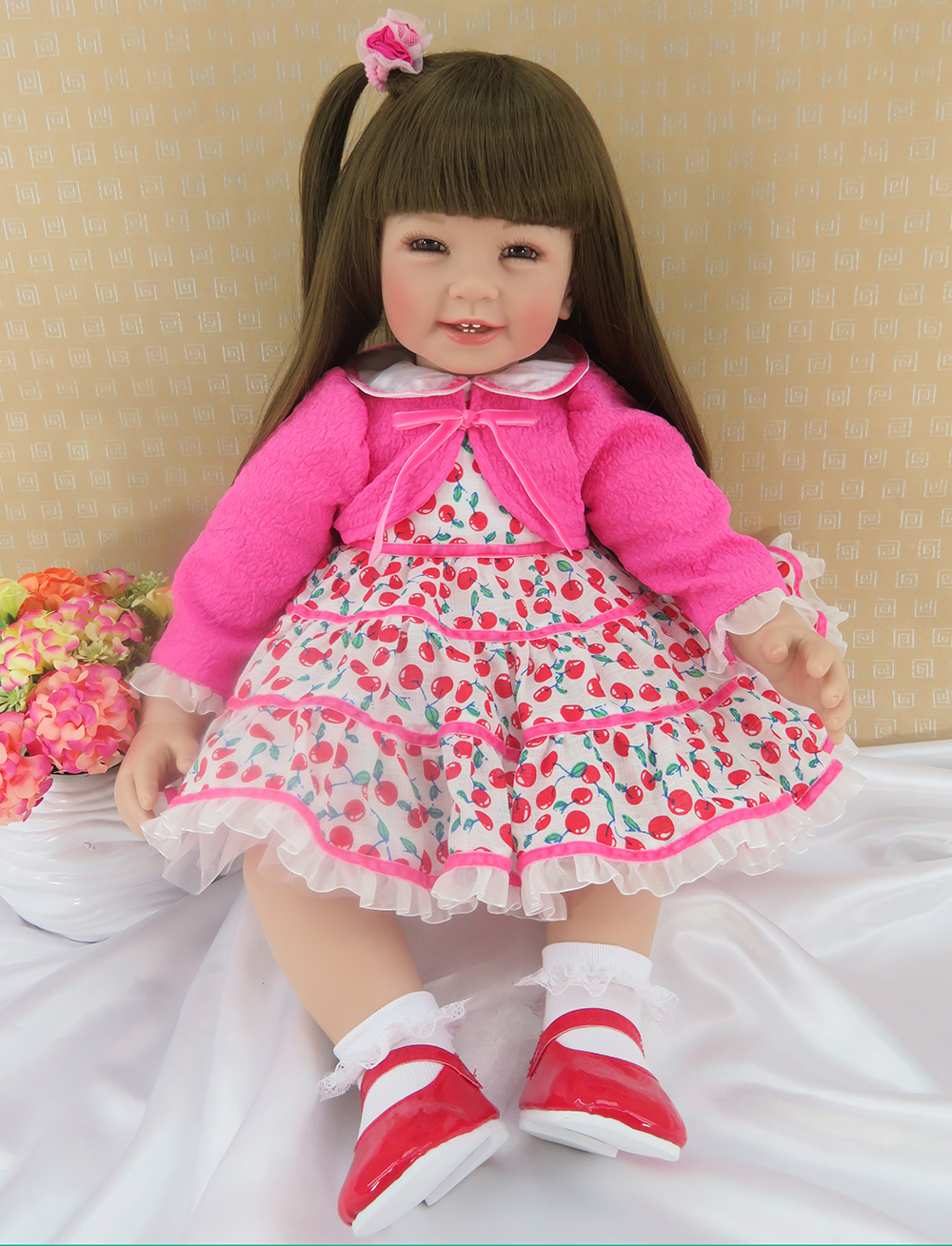 Pursue 24/60 cm Pretty in Pink Long Hair Silicone Reborn Toddler Princess Baby Girl Dolls Toys Children Girls Birthday Gift Toy ободки pretty mania ободок