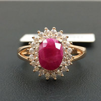 925 silver inlaid natural ruby rings
