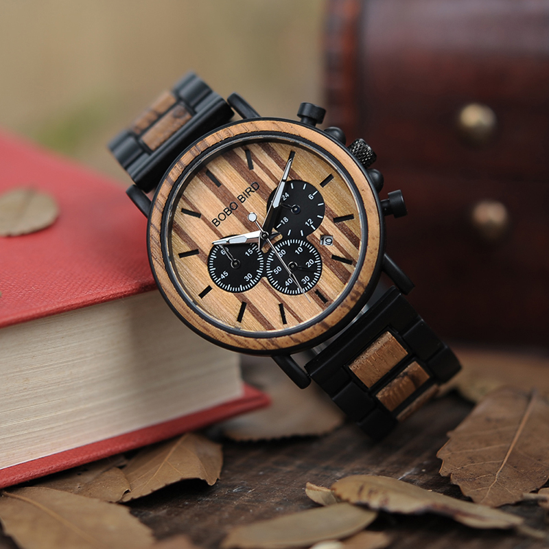 BOBO BIRD Unique Dial Stopwatch Bamboo Wooden Watches Men Wrist Watch With Date Create clock Gift In Wood Box saat erkek bobo bird i26 mens unique ebony wooden watches deer head dial casual quartz wrist watches with wood links in gift watch box