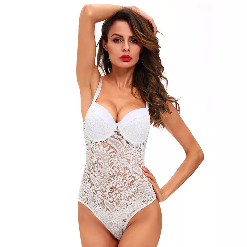 Women Sexy Lace Push Up Bodysuit Teddies Mesh Hollow Lace Set Underwire Cup Strap Plunge Lingerie Sleepwear Nightwear For Ladies