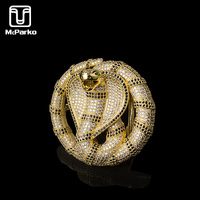 McParko Animal Belt Buckles Snake Buckles for Belt Luxury Style Stainless steel Belt Buckle With Zircon Fashion Python Design