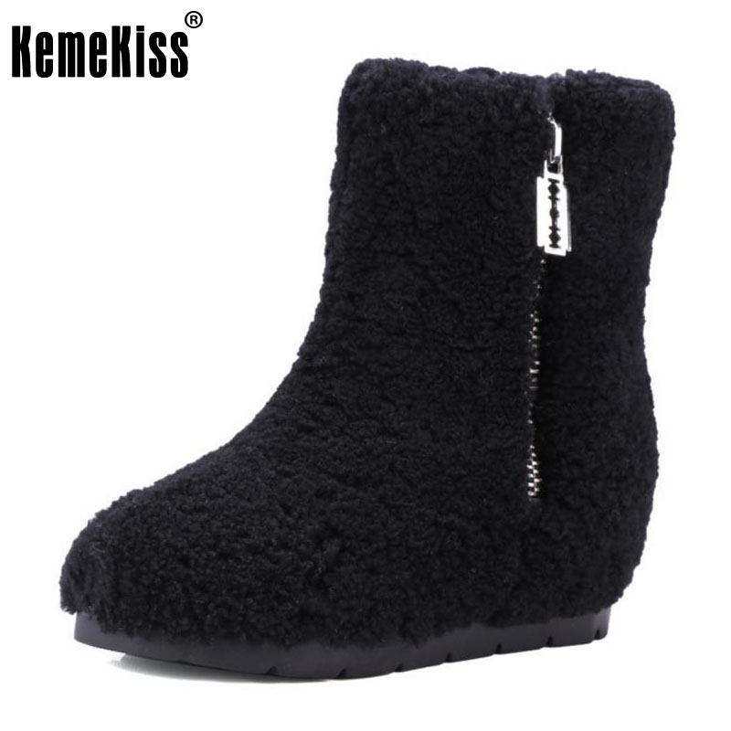 KemeKiss Winter Genuine Leather Women Ankle Boots Warm Thickend Sheep Fur Plush Snow Boots Fashion Zipper Women Shoes Size 34-39 fedonas top quality winter ankle boots women platform high heels genuine leather shoes woman warm plush snow motorcycle boots