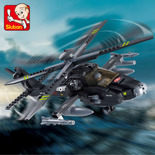 293Pcs Airplane Black AH-64 Utility Helicopter Military ARMY Building Blocks Eductional Toys for Children