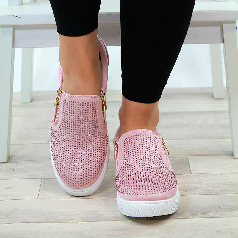 ฤดูใบไม้ร่วงรองเท้าผู้หญิงคริสตัลแบน Loafers ซิป Embossed หนังสุภาพสตรี Glitter แฟชั่นหญิงรองเท้าแตะ A270