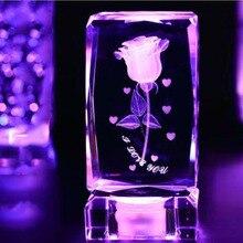 Colorful 3D Laser Crystal Glass Rose Insiding Carving Luminous Ornaments Figurine Paperweight Quartz Crafts Home Decor Souvenir