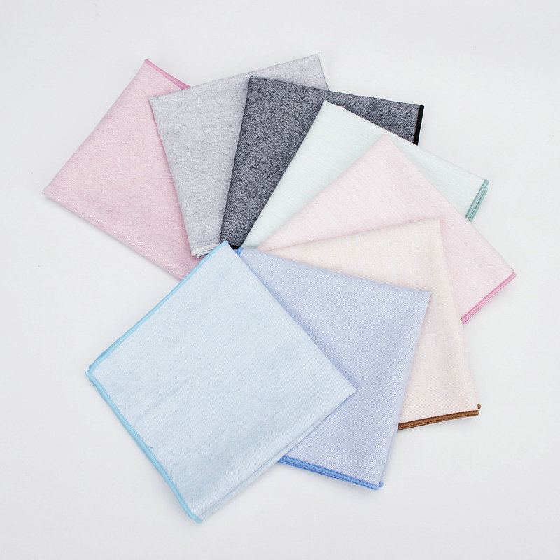 Solid Color Twill Cotton Pocket Towel Simple Fashion Hand Towel Pure And Fresh Chic High-end Pocket Handkerchief