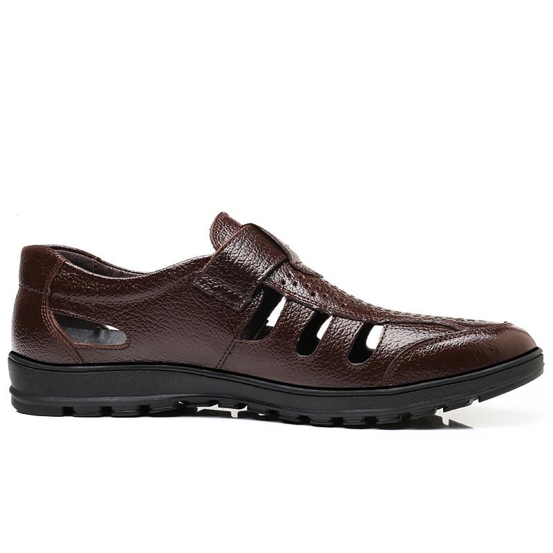 Hommes Cuir Sandales En Classiques Mou Plage Sandalias Mode Appartements Respirant Fond brown Mâle De D'été Black Chaussures Luxe qI4wS6t