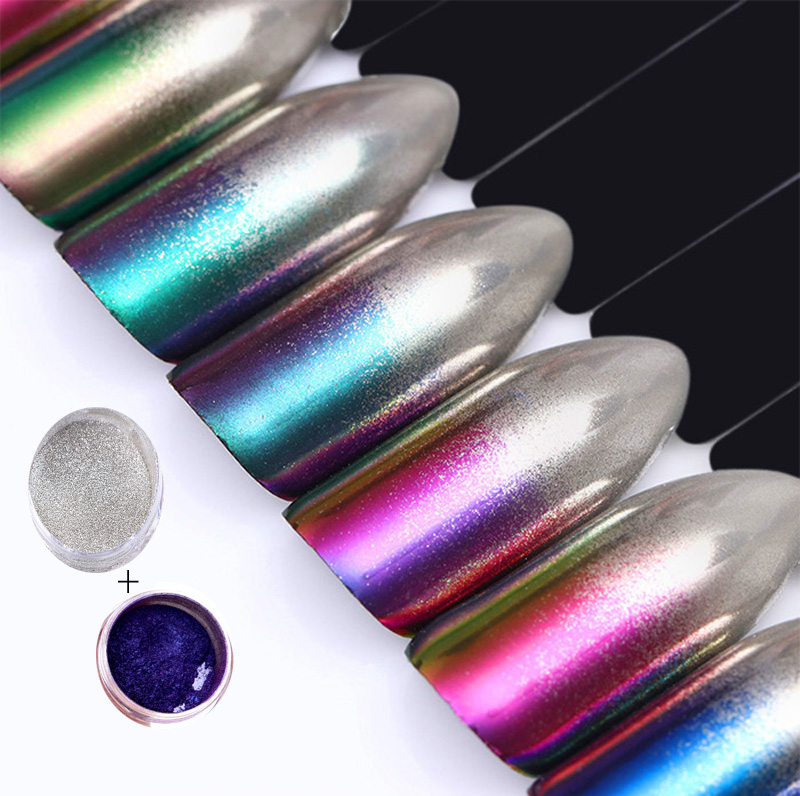 2 Boxen/set Chameleon Silber Spiegel Pulver Gradienten Farbe Chrome Pigment Glitter Pulver Maniküre Nail Art Chrom Pulver Gut Verkaufen Auf Der Ganzen Welt