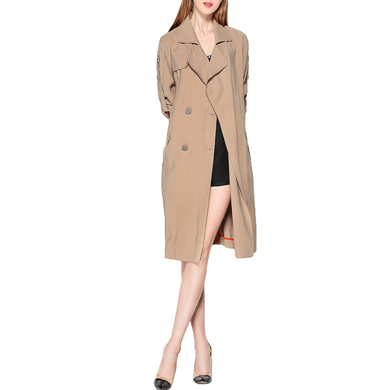 Top Quality 2018 New Fashion Long Trench Female Coat Double Breasted Overcoat Solid Color Elegant Womens Windbreaker