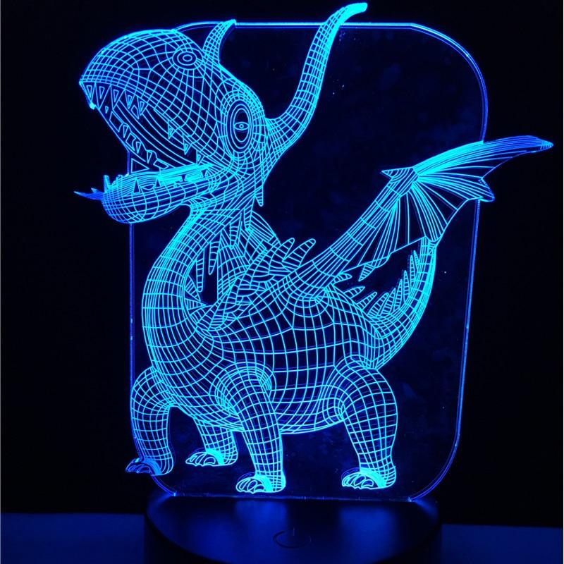 Novelty Pterosaur 3D Lamp Dinosaur Atmosphere Night Light 7 Colors Change LED Visual Table Bedroom Baby Toy Gift Desk Home Decor table decor color change best gift led night light