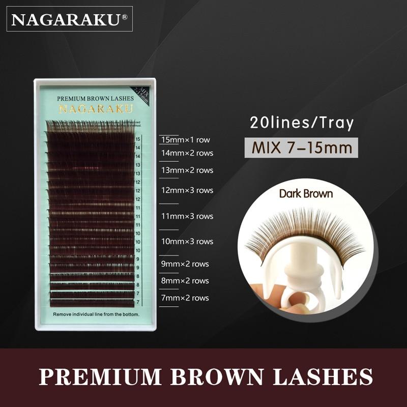 NAGARAKU 7-15Mix size Brown False Eyelashes Individual Lashes Mink Colored Eyelash Extensions Fake Natural Brown Color Lash