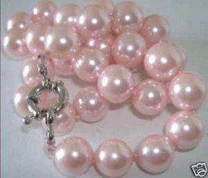 Beautiful! 8mm Pink South Sea Shell Pearl Necklace 18″