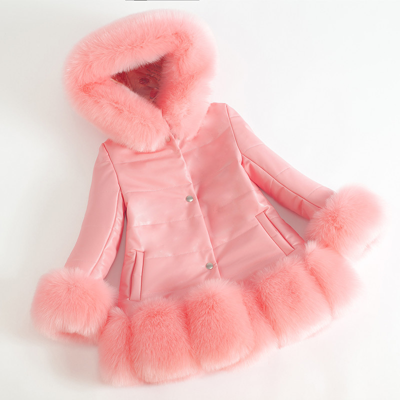 Fashion Girls Winter Coat Faux Fur Cuff Thick Warm Cotton Children Clothing Kids Clothes Parkas Quality PU Leather Girls Jacket faux fur cuff pearl beading scallop dress page 7