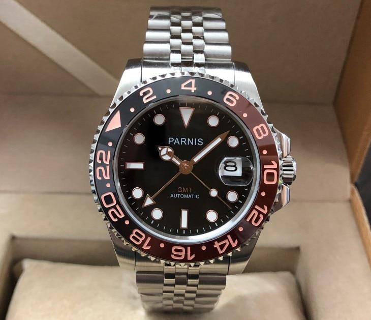 40mm PARNIS Sapphire Crystal GMT Automatische machines beweging lichtgevende mannen horloges Draaien bezel pa136 p8-in Mechanische Horloges van Horloges op  Groep 1