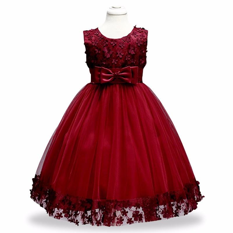 Retail Floral Flowers Girl Dresses Appliques Bow Decoration Summer Party Dress Elegant Holy Princess Prom Ball Gown LL314
